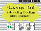 Subtracting Fractions (Unlike Denominators) Scavenger Hunt