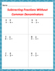 Math: Subtracting Fractions Without Common Denominators -