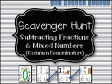 Subtracting Fractions and Mixed Numbers (Common Denominators) Scavenger Hunt
