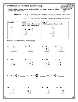 Subtracting Fractions by Borrowing Worksheet