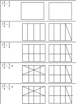 Subtracting Fractions from Mixed #s Interactive Notebook Foldable