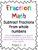 Subtracting Fractions from Whole Numbers