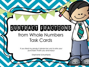 Subtracting Fractions from Whole Numbers (Renaming) with QR codes