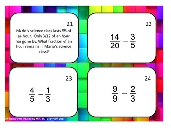 Subtracting Fractions (no mixed numbers) Task Cards