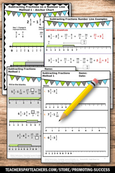 Subtracting Fractions on a Number Line Worksheets with Unlike Denominators