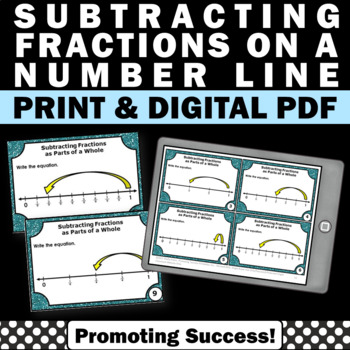 Subtracting Fractions on a Number Line Task Cards Math Cen