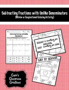 Subtracting Fractions w/ Unlike Denominators {Winter or Inspirational Coloring}