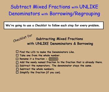 Subtracting Fractions with Borrowing Regrouping Subtract Fraction Smartboard
