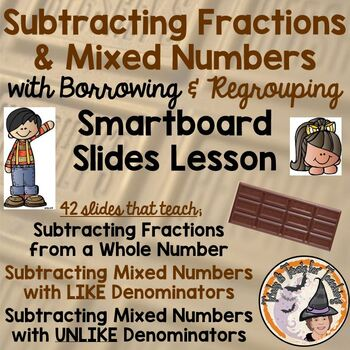 Subtracting Fractions with Borrowing Regrouping Smartboard Lesson