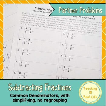 Subtracting Fractions with Common Denominators Partner Problems