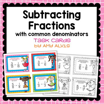 Fraction Task Cards Subtracting Fractions with Common Denominators