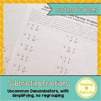 Subtracting Fractions with Different Denominators Partner Problems