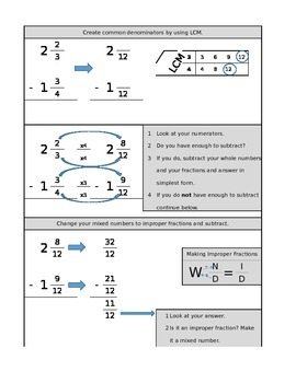 Subtracting Fractions with Improper Fraction Method