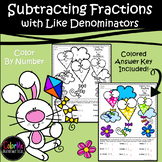Subtracting Fractions with Like Denominators Color by Number Worksheet