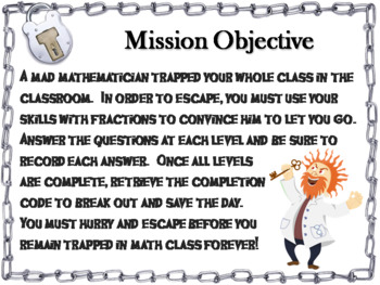 Subtracting Fractions with Like Denominators Game: Math Escape Room Activity