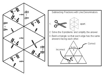Subtracting Fractions with Like Denominators Game: Math Tarsia Puzzle