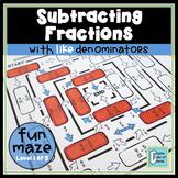 Subtracting Fractions with Like Denominators Worksheet