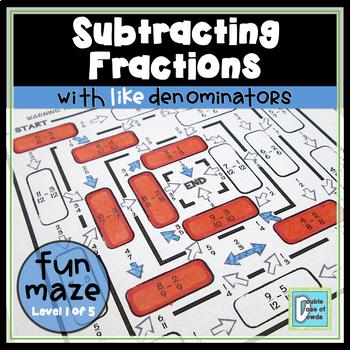 Subtracting Fractions with Like Denominators Maze