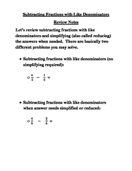 Subtracting Fractions with Like Denominators Review Notes and Practice Page