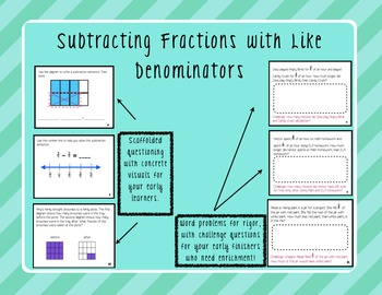 Subtracting Fractions with Like Denominators - Task Cards!