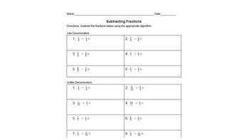 Subtracting Fractions with Like and Unlike Denominators  Practice - Worksheet
