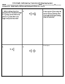 Subtracting Fractions with Regrouping QUIZ **UPDATED**