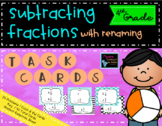Subtracting Fractions with Renaming Task Cards, 4th Grade