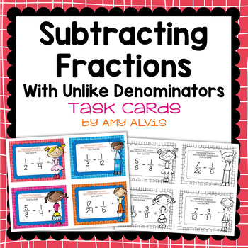 Fraction Task Cards - Subtracting Fractions with Unlike De