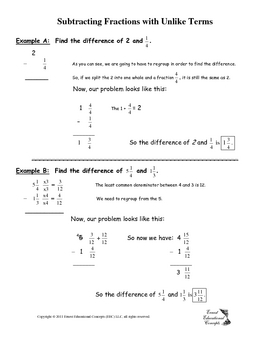 Subtracting Fractions with Unlike Denominator Notes