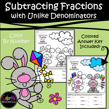 Subtracting Fractions with Unlike Denominators | Spring Bunnies!