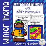 Subtracting Fractions with Unlike Denominators Color by Number-Winter Theme
