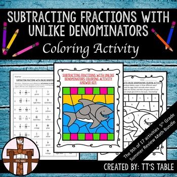 Subtracting Fractions with Unlike Denominators Coloring Activity