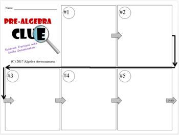 Subtracting Fractions with Unlike Denominators Pre-Algebra Clue Game