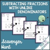 Subtracting Fractions with Unlike Denominators Activity -