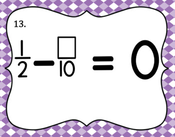 Subtracting Fractions with Unlike Denominators- Set of 20 Task Cards