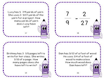 Subtracting Fractions with Unlike Denominators Task Cards