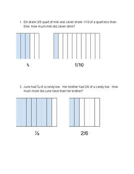 Subtracting Fractions with Unlike Denominators Using Area Models