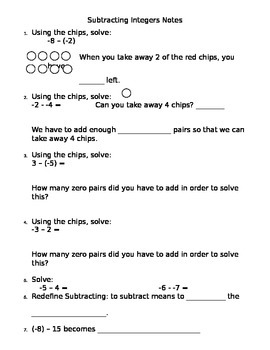 Subtracting Integer Notes