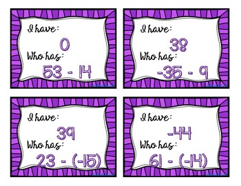 Subtracting Integers: I Have, Who Has
