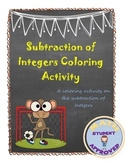 Subtracting Integers Coloring Activity