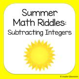Summer Subtracting Integers Math Riddles