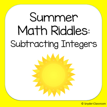 Summer Subtracting Integers Math Riddles