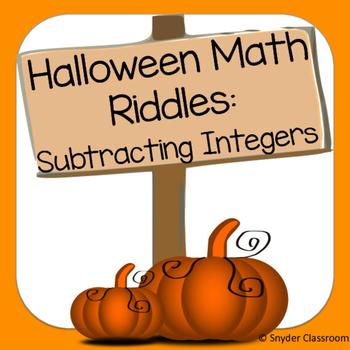 Halloween Subtracting Integers Math Riddles
