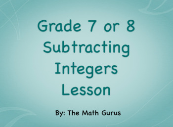 Subtracting Integers Lesson