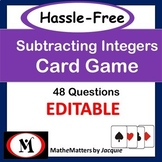 Subtracting Integers Hassle Free Game:  7.NS.A.1  {EDITABL