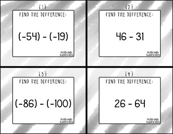 Subtracting Integers 7th Grade Math Task Cards