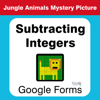 Subtracting Integers - Animals Mystery Picture - Google Forms