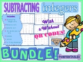 Subtracting Integers BUNDLE with QR Codes! 39 Worksheets, 5 Centers, & More