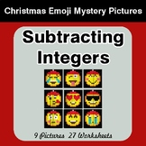 Subtracting Integers - Christmas EMOJI Color-By-Number Math Mystery Pictures