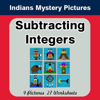 Subtracting Integers - Color By Number Math Mystery Pictures